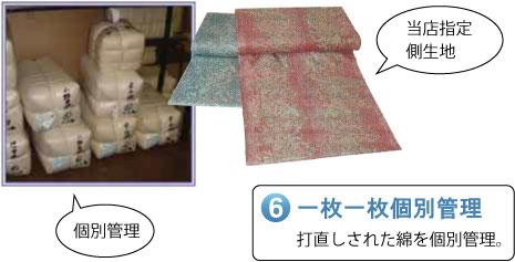 一枚一枚個別管理 打直しされた綿を個別管理。